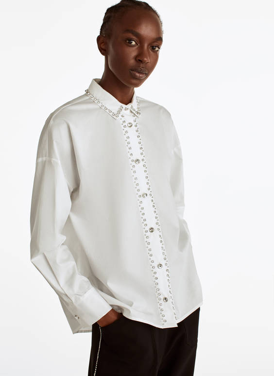 Shirt with bejewelled detail