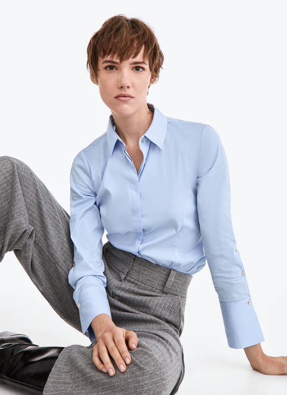 Sky blue stretch-fit shirt
