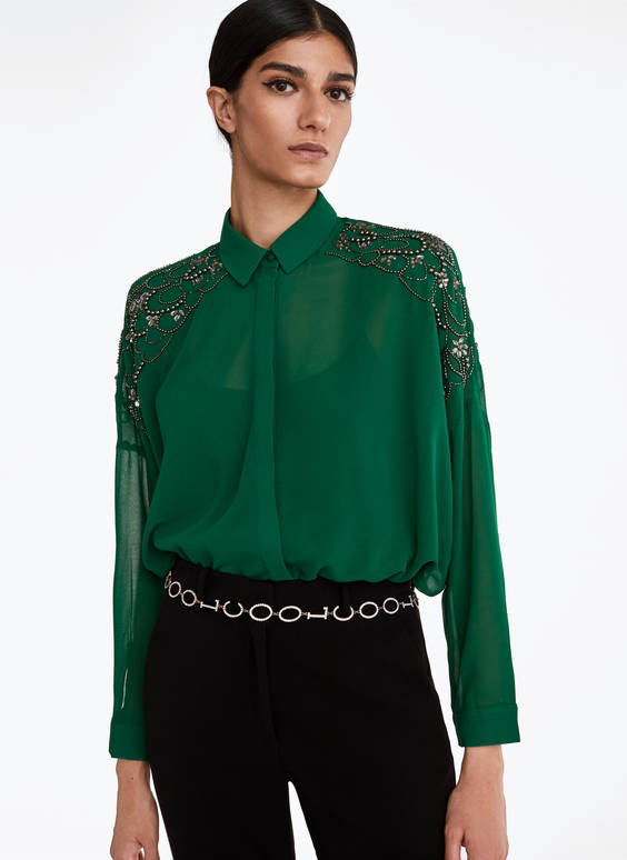 Green embellished shirt