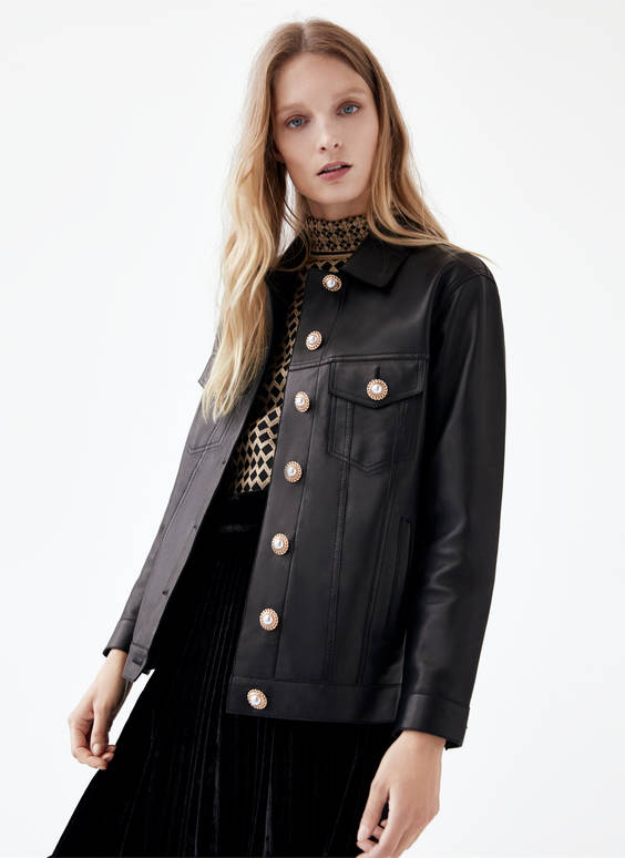 Leather jacket with faux pearl buttons