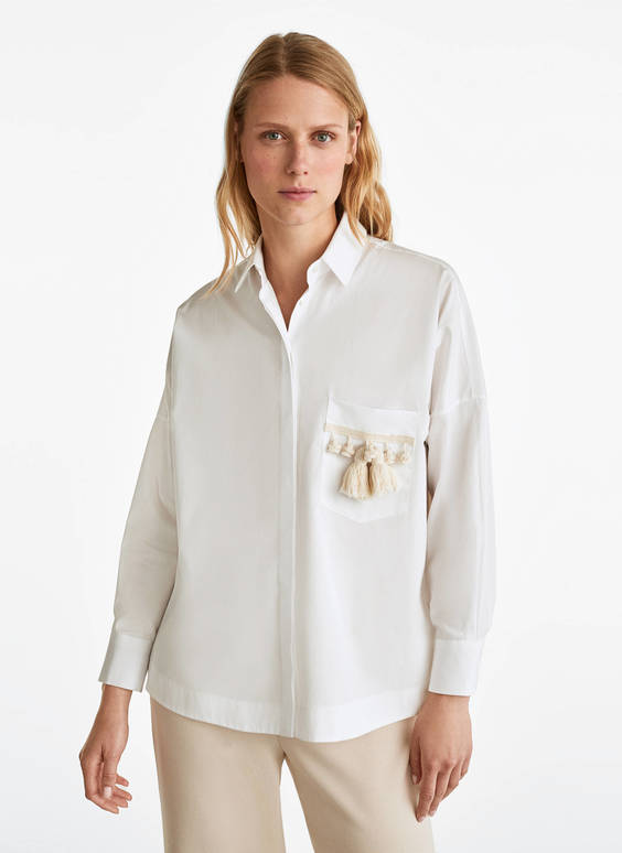 Oversized shirt with tassels