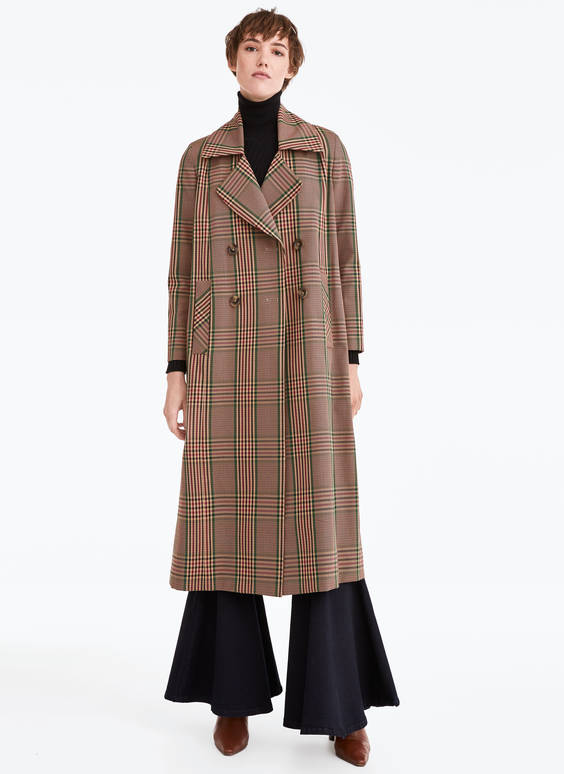 Checked trench coat