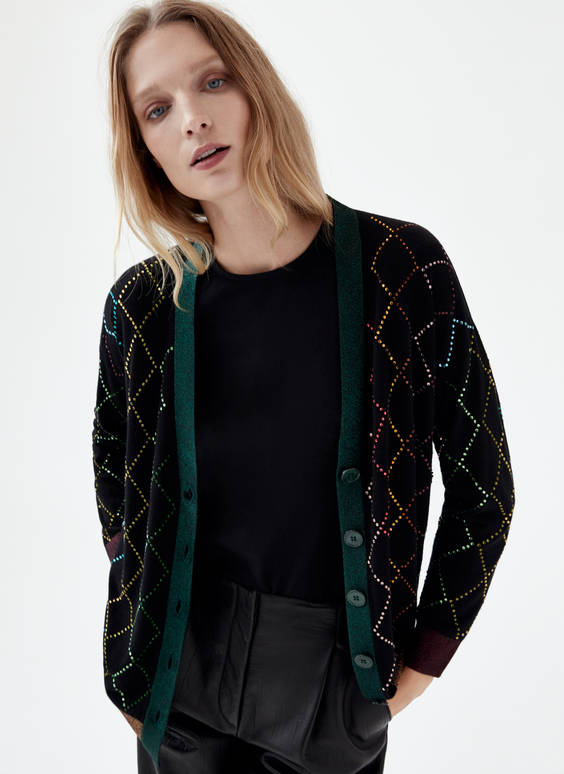 Cardigan with multicoloured rhinestone appliqués
