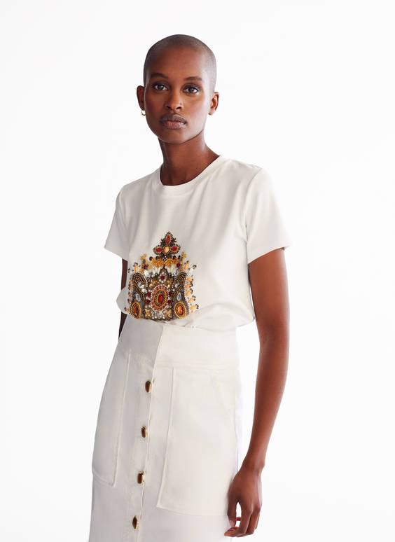 T-shirt avec couronne ornée de pierres fantaisie