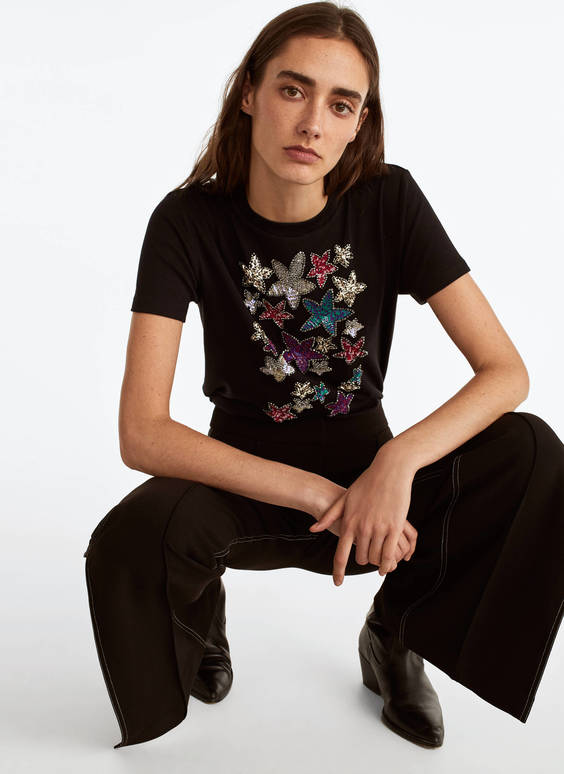 T-shirt with embroidered stars