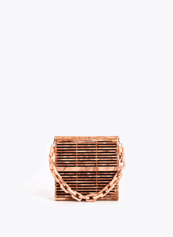 Evening bag with slatted design