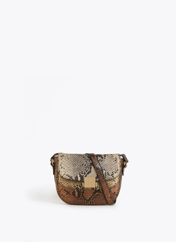 Multicoloured snakeskin print crossbody bag