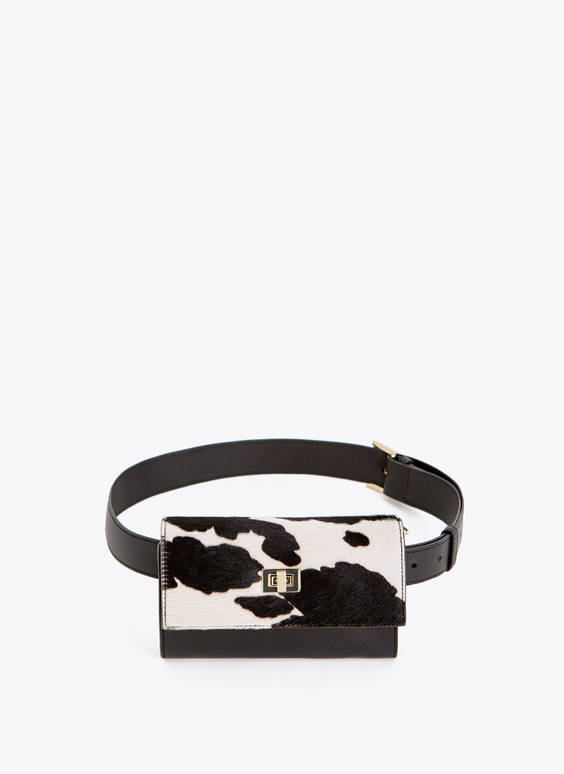 Convertible leather animal print belt bag