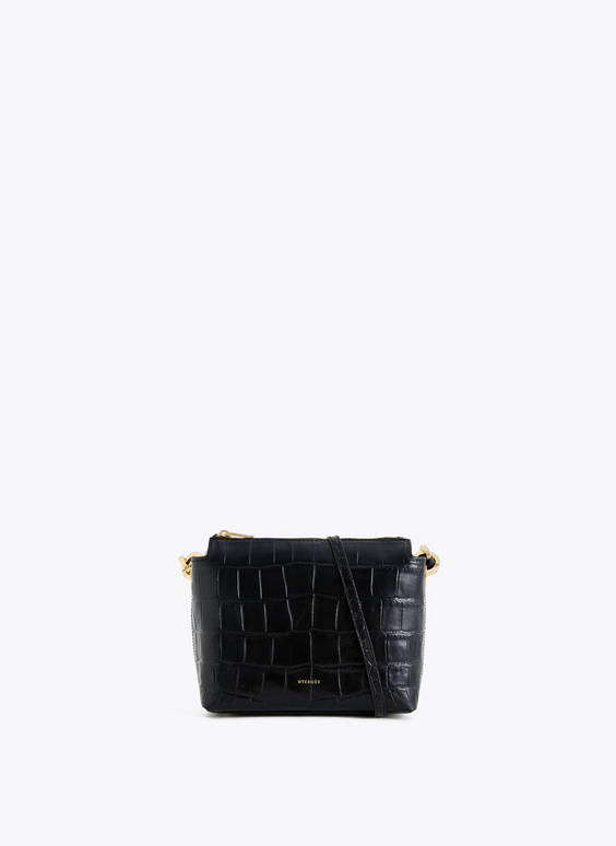 Leather crossbody bag with eyelets