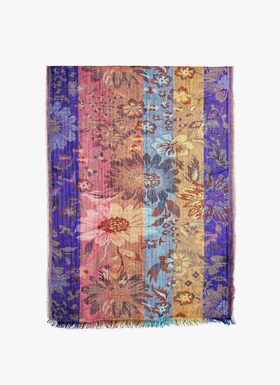 Floral jacquard scarf