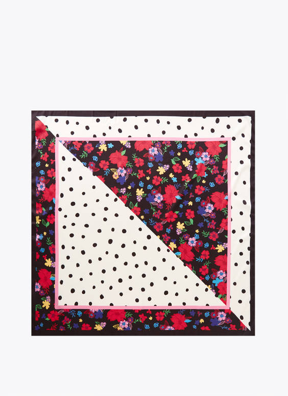 Scarf with contrast floral and polka dot print