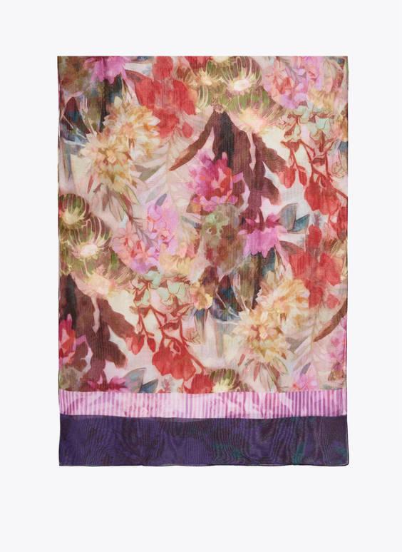 Floral foulard scarf