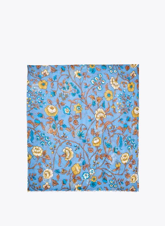 Foulard en laine avec fleurs
