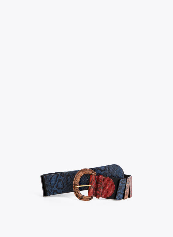 Stretch snakeskin belt