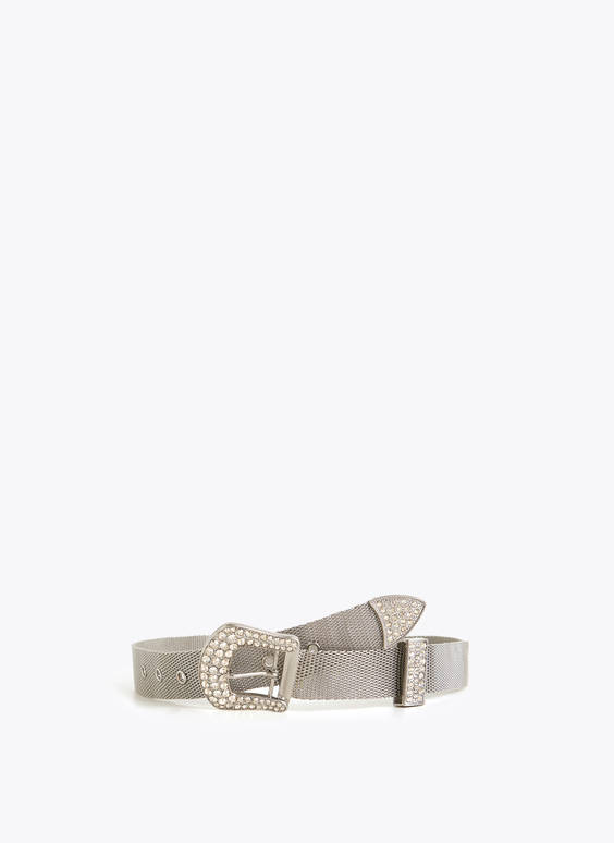 Silver-tone metallic belt