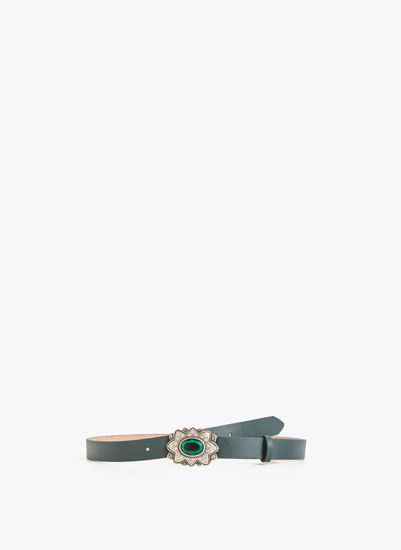 Belt with emerald buckle