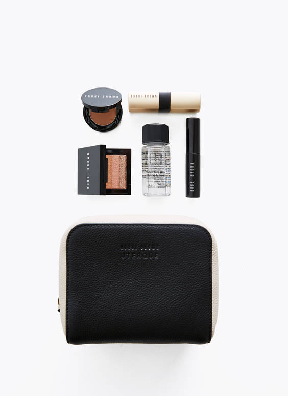 Uterqüe make-up bag and Bobbi Brown products