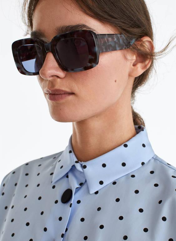 Saulesbrilles zilā krāsā ar bruņurupuča čaulas rakstu