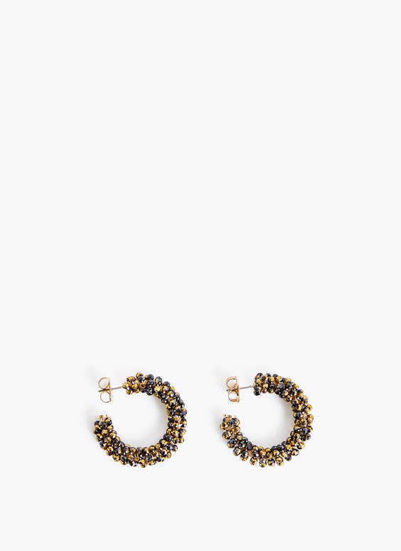Crystal gem hoop earrings