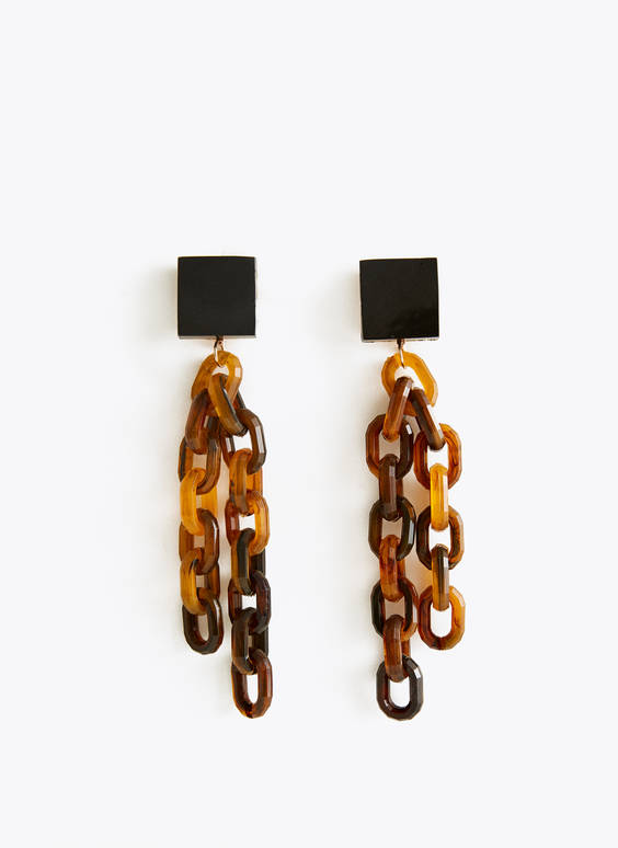 Tortoiseshell chain link earrings