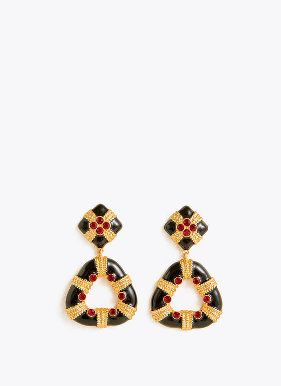 Black and gold bejewelled earrings