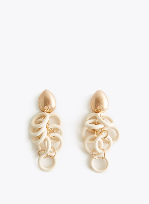 White multi-ring earrings
