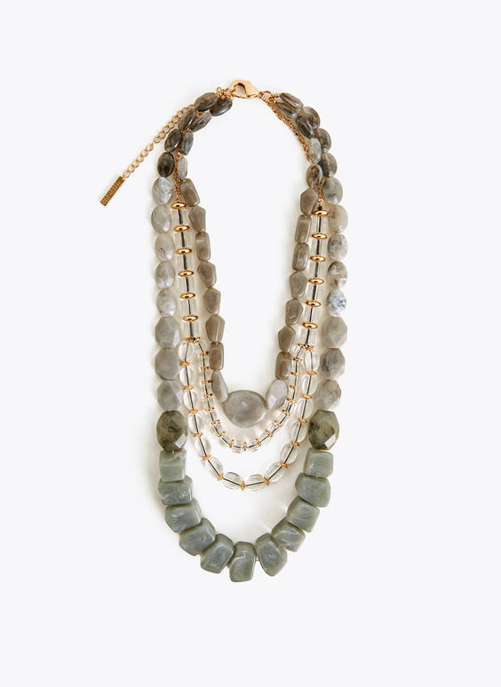 Stone and glass layered necklace
