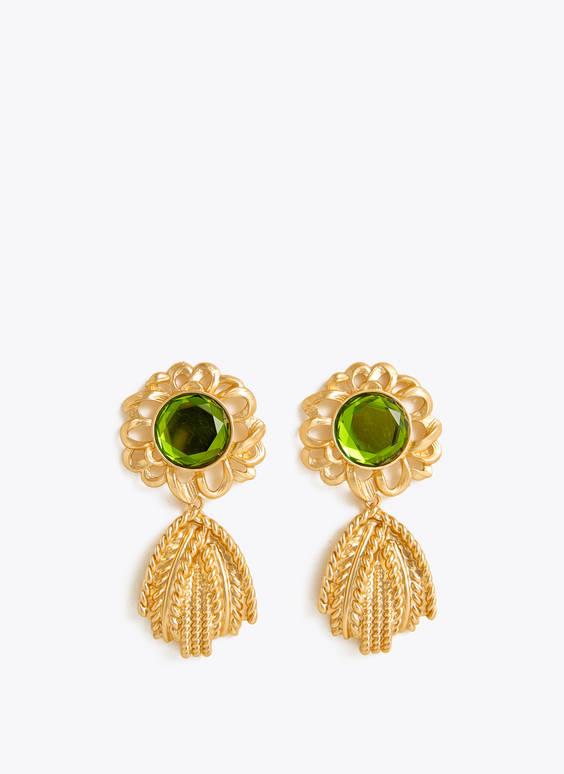 Boucles d'oreilles vertes en verre