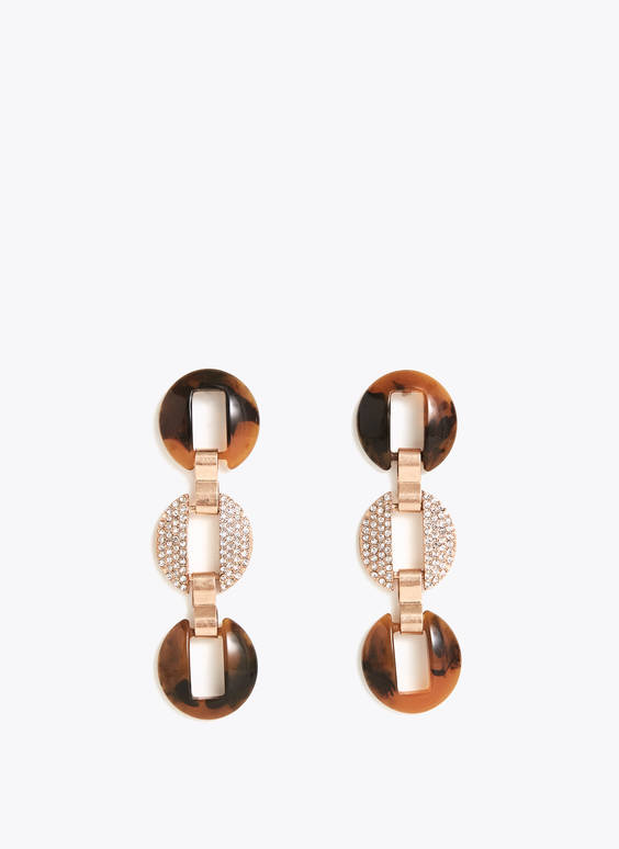 Tortoiseshell earrings studded with rhinestones