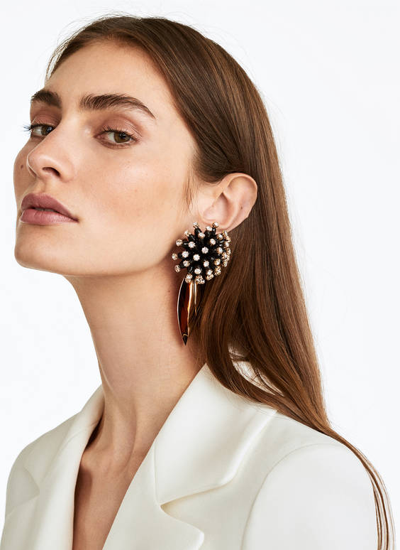 Bejewelled sea urchin earrings