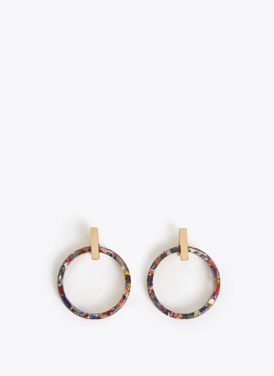 Multi-tortoiseshell hoop earrings
