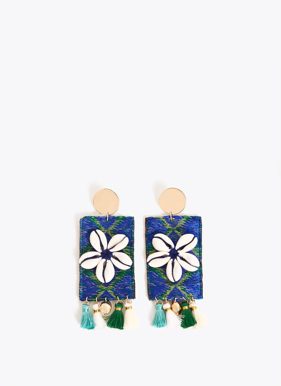 Shell and flower earrings