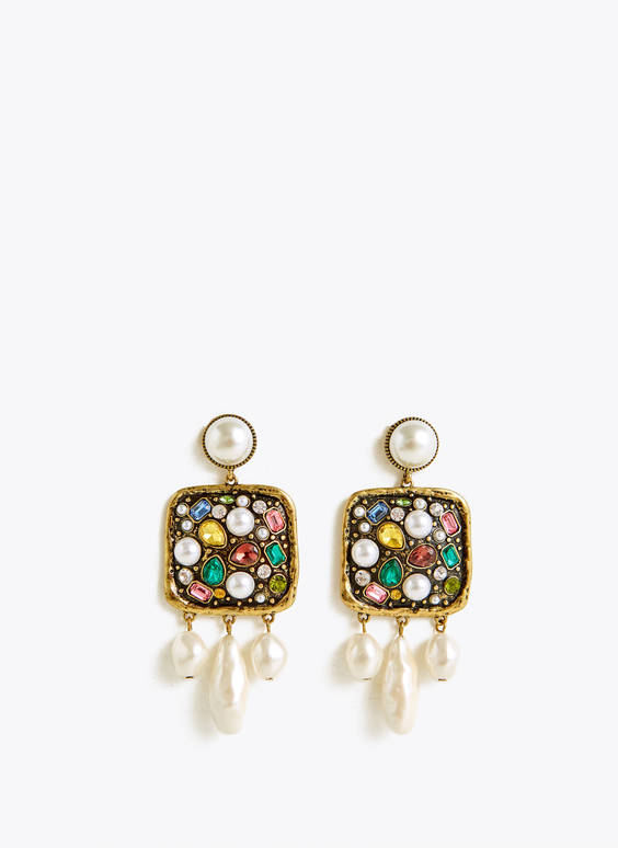 Colourful earrings with faux pearls