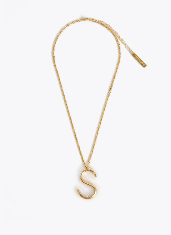 Faux pearl letter necklace