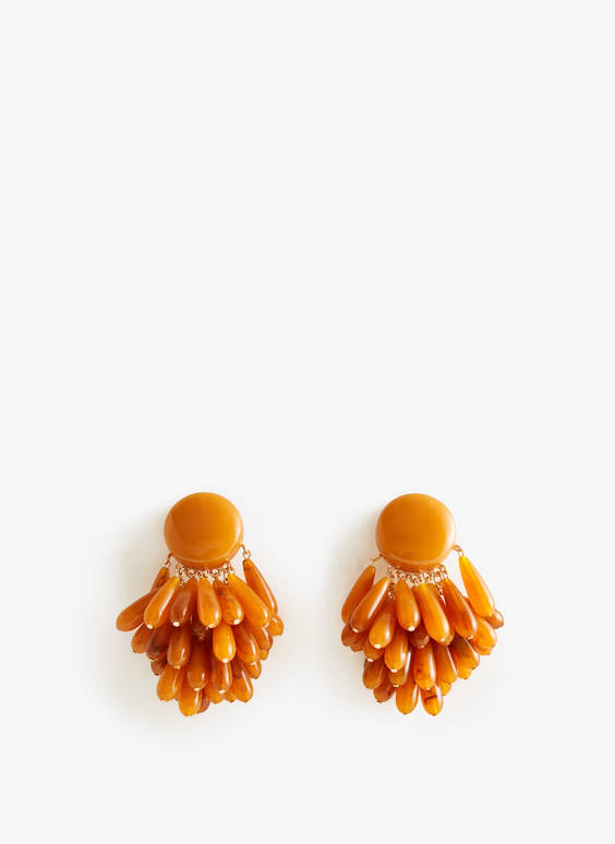Faux amber cluster earrings