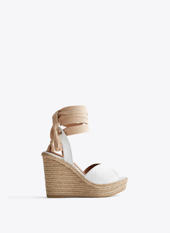 Embossed leather and jute wedges