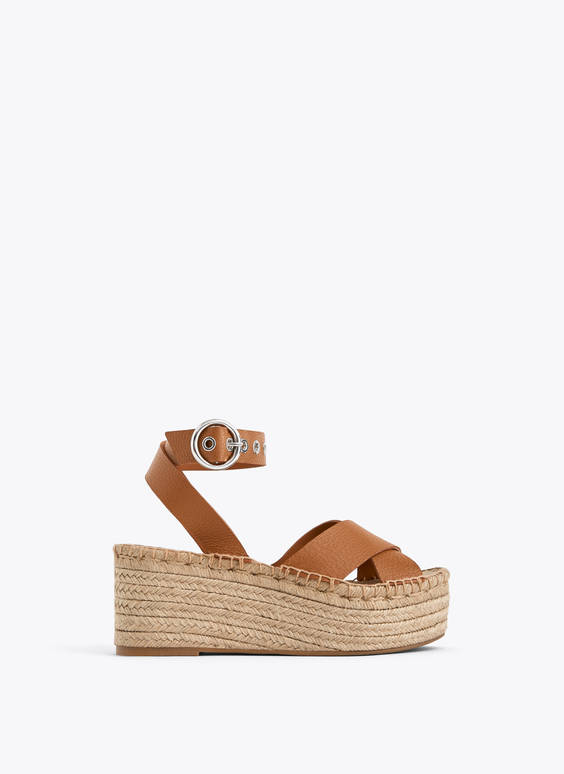 Leather and jute platform wedges