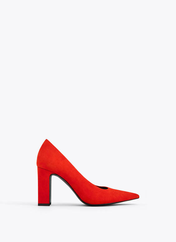 Suede leather high-heel court shoes