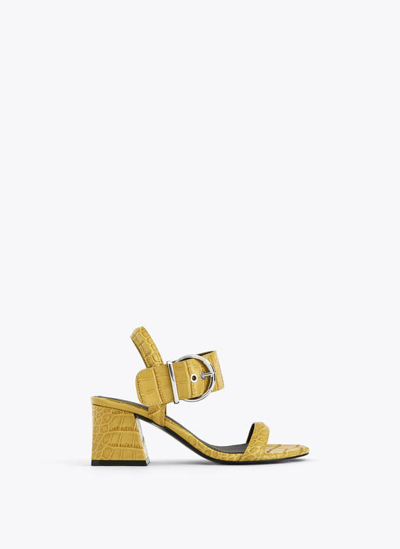 Buckled mock croc sandals