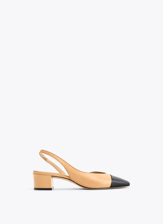 Leather slingback shoes with contrast toe