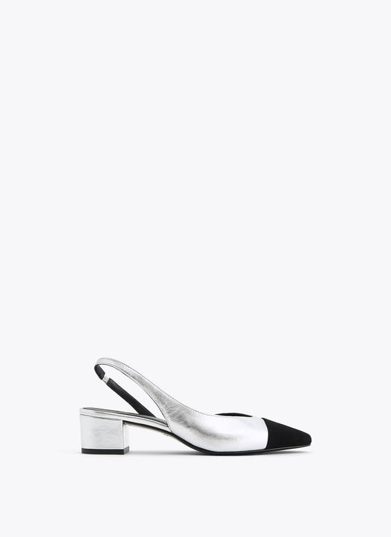 Silver leather slingback shoes with contrast toe