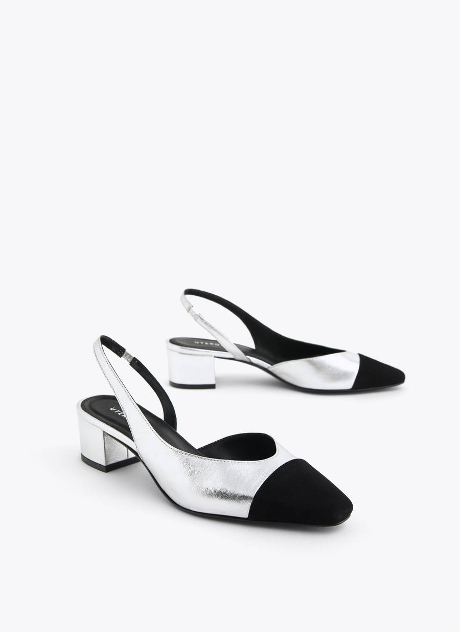 35e1c6bd77aff Silver leather slingback shoes with contrast toe