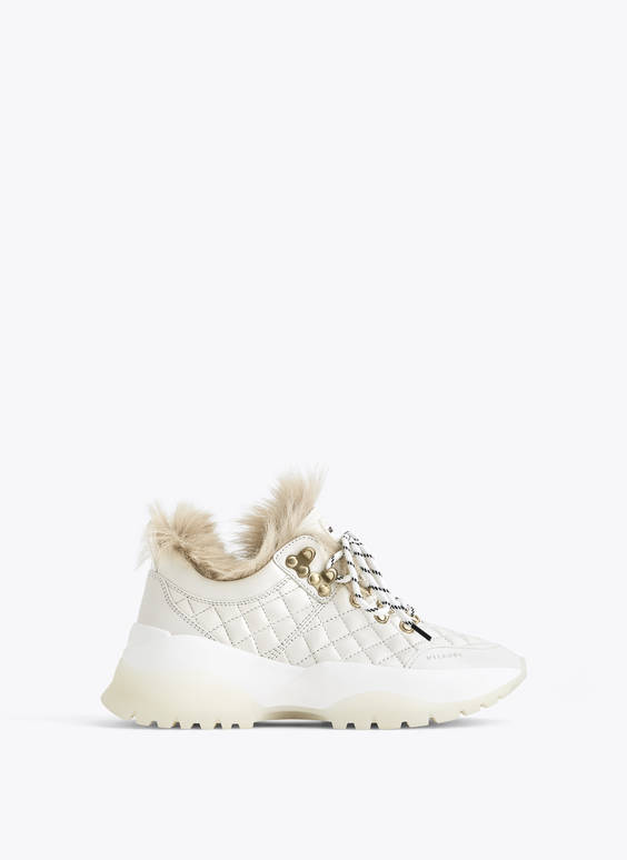 White quilted trainers with lambskin
