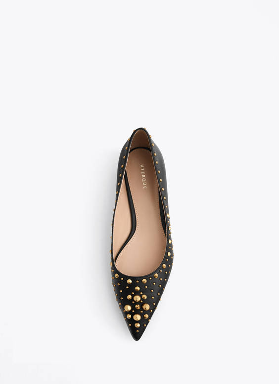 Studded leather ballerinas