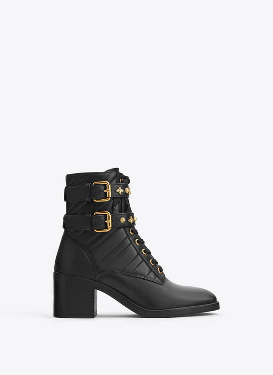 Quilted leather ankle boots with buckles