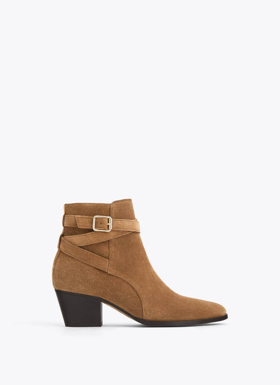 Split suede ankle boots with buckled strap detail