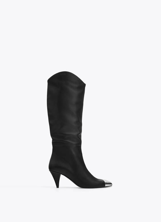 Leather knee-high boots with metal toe detail