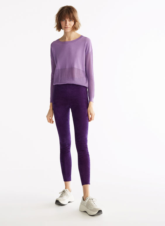Purple suede leggings