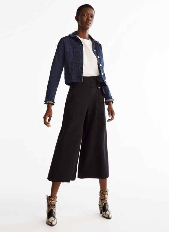Black skirt-style culottes
