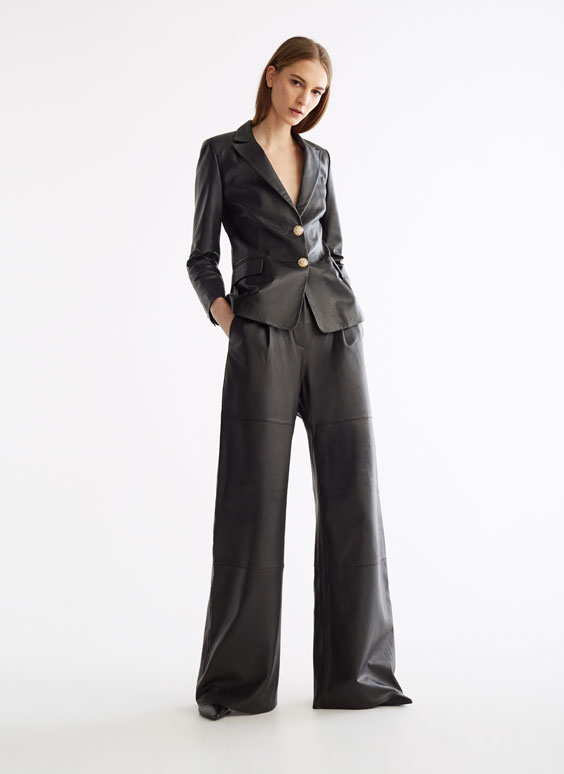 Leather wide-leg trousers